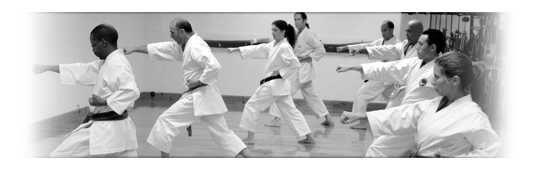Students in class performing step-in punches